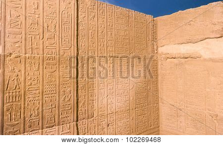 Old Calendar Carved In Hieroglyphs On The Walls Of Kom Ombo Temple, .kom Ombo, Egypt