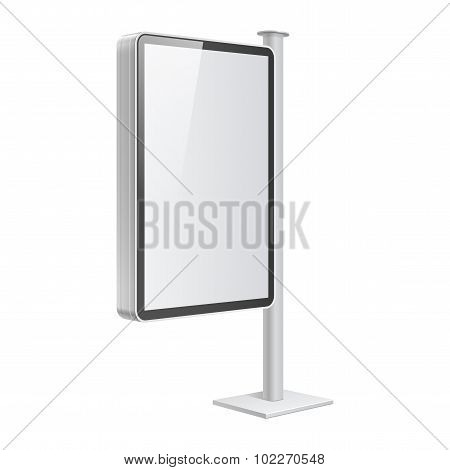 Realistic Light Box Template On White Background