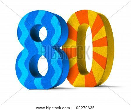 Colorful Paper Mache Number On A White Background  - Number 80