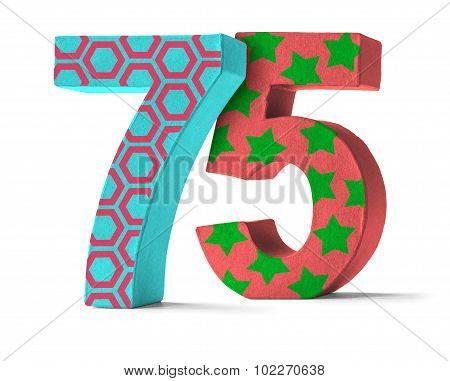 Colorful Paper Mache Number On A White Background  - Number 75