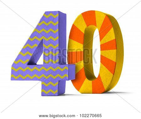 Colorful Paper Mache Number On A White Background  - Number 40