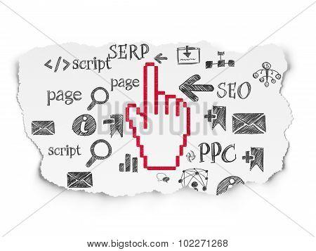 Web development concept: Mouse Cursor on Torn Paper background
