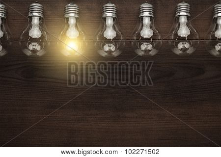 glowing bulb uniqueness concept with copy space