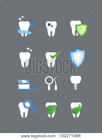 Flat dental icons vector set