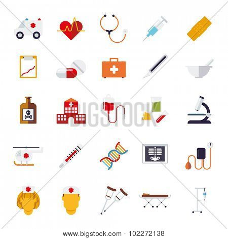 Medicine and Health Care Vector Icon Collection. Set of 25 medical and healthcare related icons, flat design, isolated on white