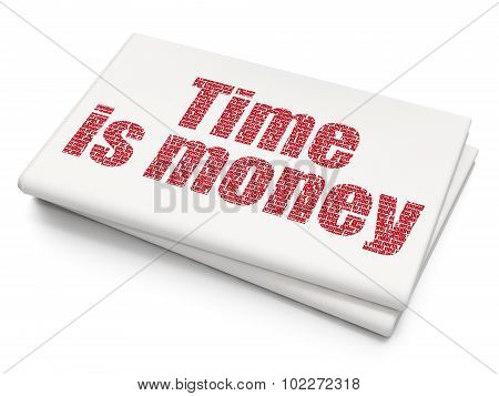 Timeline concept: Time Is money on Blank Newspaper background