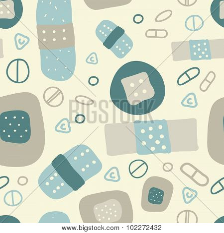 Cartoon medical patch for kids. Flat seamless vector pattern.