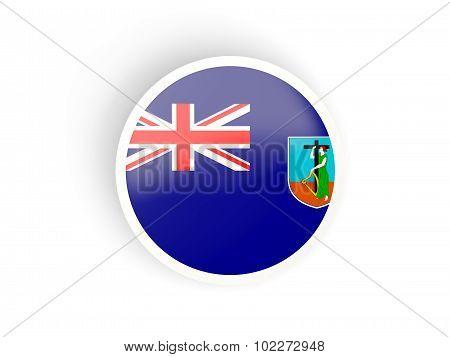 Round Sticker With Flag Of Montserrat