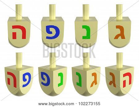 Set Of Wooden Dreidels