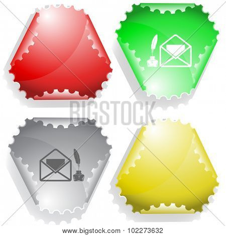 mail with feather and inkstandn . Vector sticker.