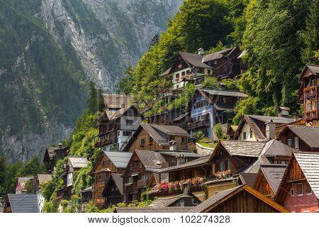 Classic view of Hallstatt village in Alps, Austria