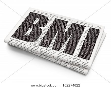 Health concept: BMI on Newspaper background