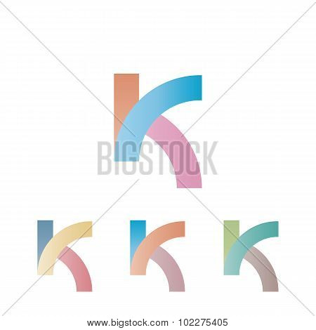 K Logo Letter, Mockup Pastel Colors Design Element For Communication Web App, Intersection Gradient
