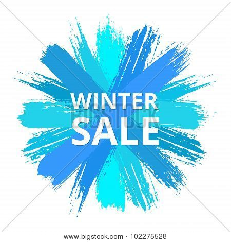 Blue Vector Sale Banner from Brush Strokes