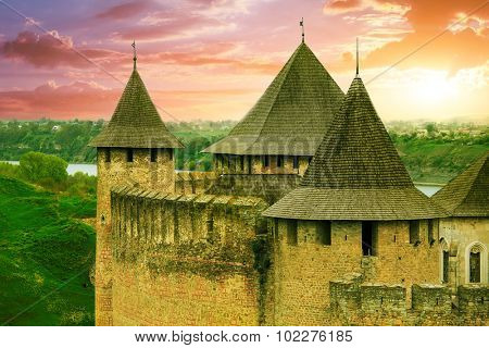 Beautiful View of old Khotyn Fortress. The castle is the seventh Wonder of Ukraine