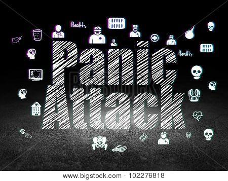Medicine concept: Panic Attack in grunge dark room