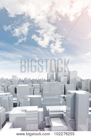 Skyscrapers Under Cloudy Sky, 3D Illustration