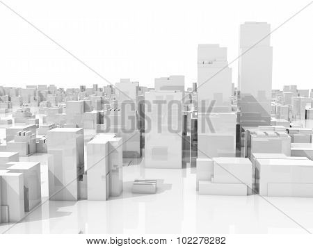 Abstract White 3D Cityscape Skyline On White