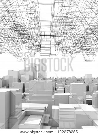Cityscape With Tall Skyscrapers And Wireframe