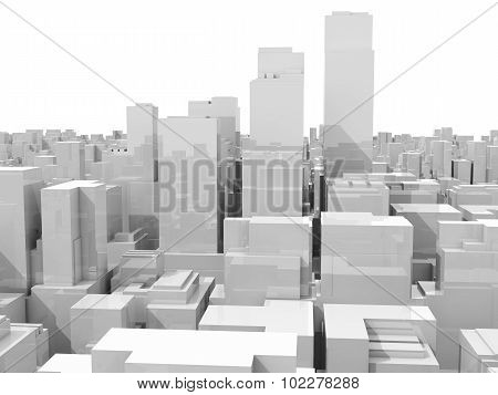 3D Cityscape, Skyline With Skyscrapers Isolated