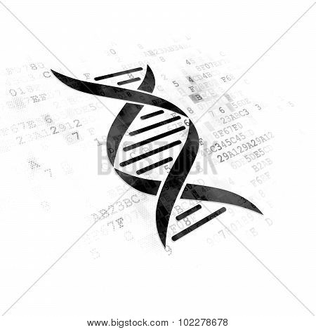 Science concept: DNA on Digital background