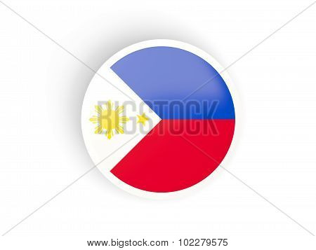 Round Sticker With Flag Of Philippines
