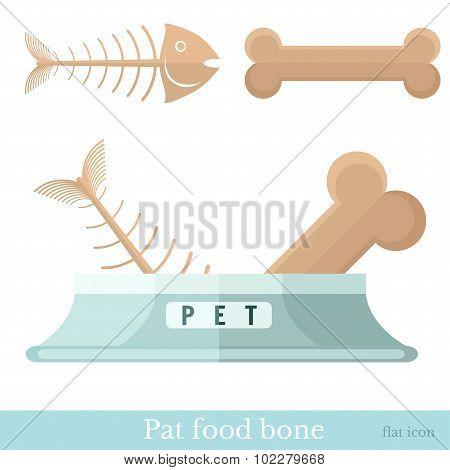 flat pet food bone with pet bowl fish-bone and bone