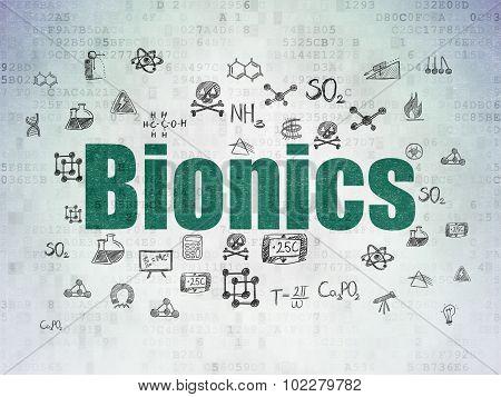 Science Concept: Bionics On Digital Paper Background