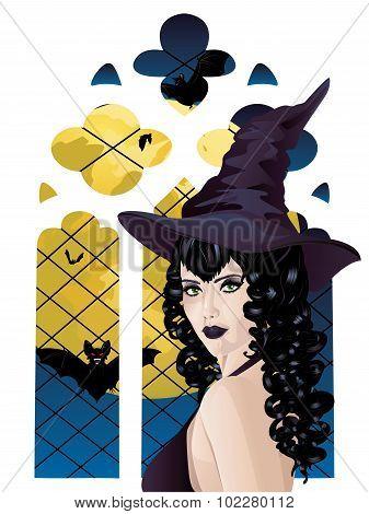 Witch Near Gothic Window
