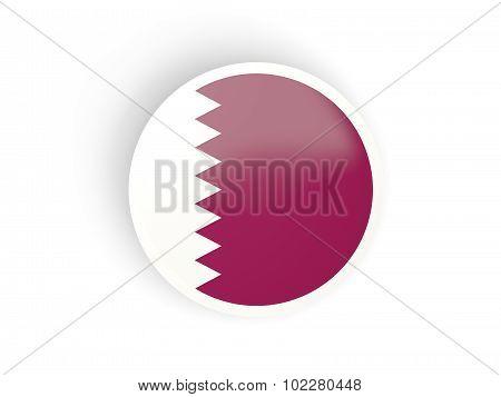 Round Sticker With Flag Of Qatar