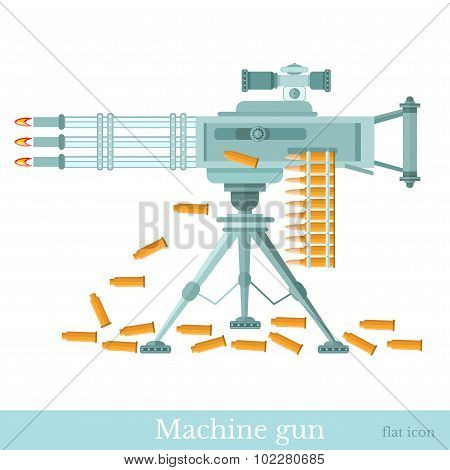 flat machine gun with machine-gun belt and sleeve isolated on white