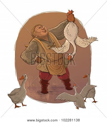 Detailed Hand Drawn Man and Gooses. Man holding goose. Old style illustration. Isolated.