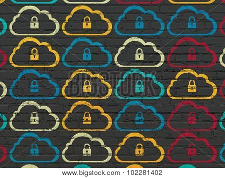 Cloud technology concept: Cloud With Padlock icons on wall background
