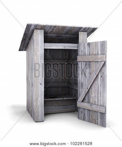 Old Wooden Toilet With The Door Open