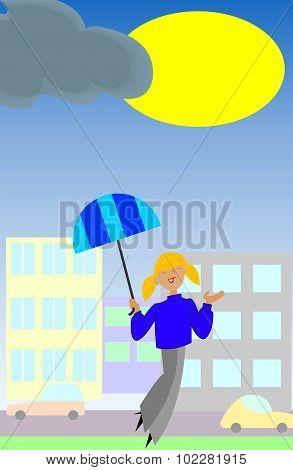 Smiling Girl With Umbrella Enjoys The Sun.