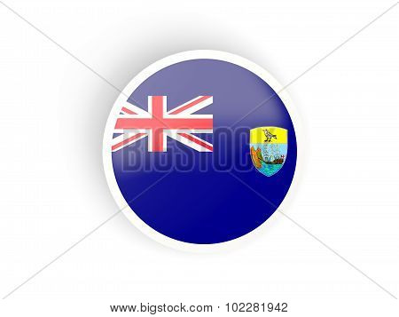 Round Sticker With Flag Of Saint Helena