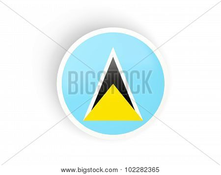 Round Sticker With Flag Of Saint Lucia