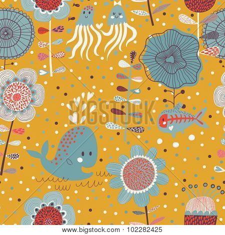 Lovely floral seamless pattern with sea animals: whale, jellyfish and x-ray fish. Vector summer background with amazing flowers