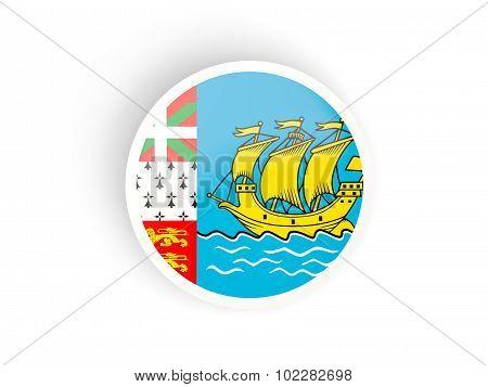 Round Sticker With Flag Of Saint Pierre And Miquelon