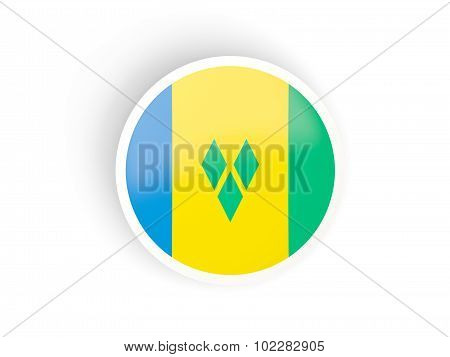 Round Sticker With Flag Of Saint Vincent And The Grenadines