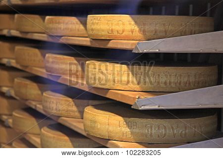 Famous Swiss Cheese In Gruyeres, Switzerland.