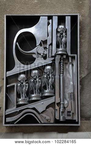 Birth Machine Sculpture By H.r. Giger In Front Of H.r. Giger Museum In Gruyeres, Switzerland