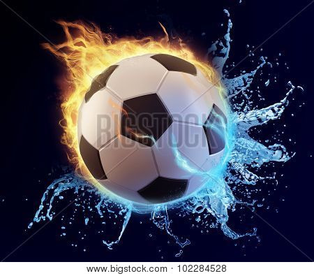 Football In Blue Water Splash And Orange Flame