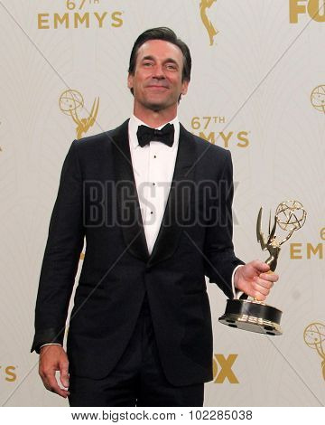LOS ANGELES - SEP 20:  Jon Hamm at the Primetime Emmy Awards Press Room at the Microsoft Theater on September 20, 2015 in Los Angeles, CA