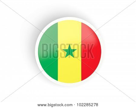 Round Sticker With Flag Of Senegal