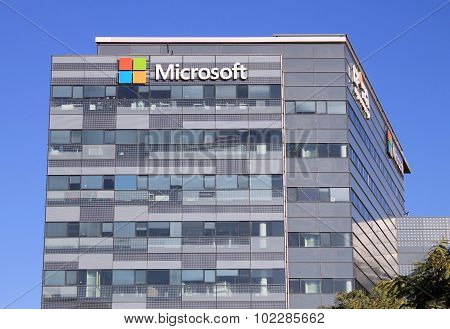 Microsoft Sign On A Building In Herzliya, Israel.