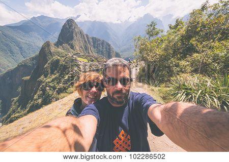 Selfie In Machu Picchu, Peru, Toned Image