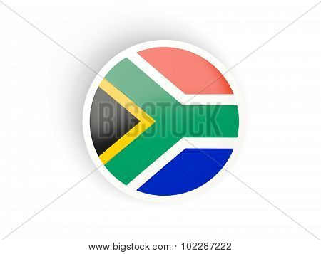 Round Sticker With Flag Of South Africa
