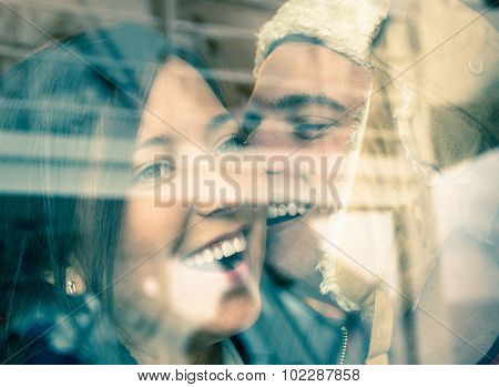 Young Happy Couple In Love At The Beginning Of A Love Story - Fashion Man Whispers A Soft Kiss