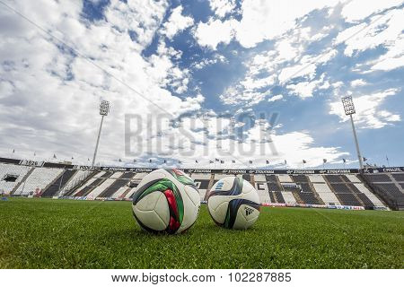 Balls Of Paok Team On The Field Of The Stadium During Team Practice In Thessaloniki, Greece.